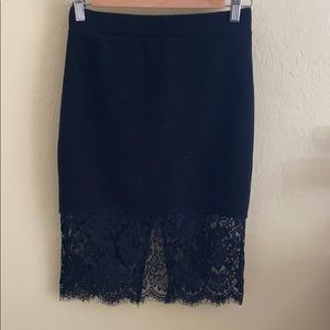 Lace trimmed pencil skirt